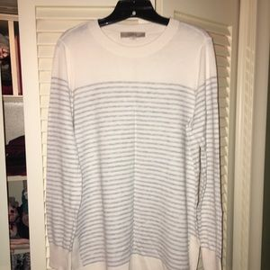 LOFT grey and white striped tunic sweater